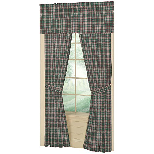 Patch Magic 40-Inch by 80-Inch Window Curtain, Green And Muddy Red Plaid