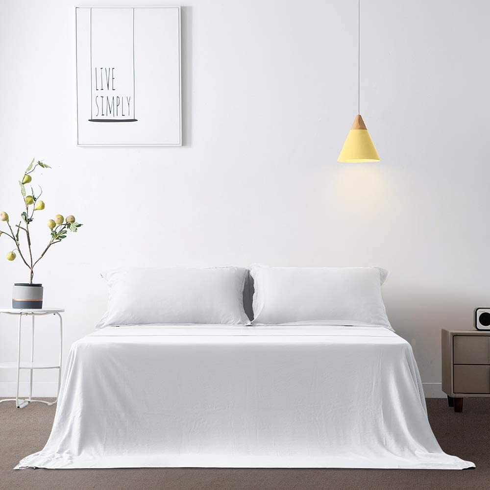 Gonk Full Flat Sheet Only - Soft Microfiber Brushed Bed Sheet - Extra-Long Bedding Flat Sheet, Fade, Stain Resistant Top Flat Bed Sheet (White): Home & Kitchen