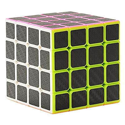Twister.CK Carbon Fiber Sticker 4x4x4 Puzzle Cube ,Speed Cube Puzzle Cube Black 60mm,Smooth Magic Cube Puzzles,Great Corner Cutting,Turns Quicker and Smoother Than Original,100% !: Toys & Games
