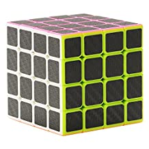 Twister.CK Carbon Fiber Sticker 4x4x4 Puzzle Cube ,Speed Cube Puzzle Cube Black 60mm,Smooth Magic Cube Puzzles,Great Corner Cutting,Turns Quicker and Smoother Than Original,100% Money Back !
