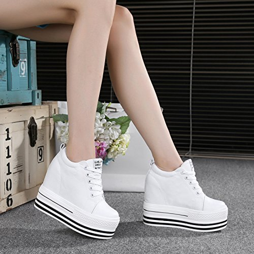 HBDLH Frühjahr 12Cm High Heels Leinwand Schuhe Dicken Hintern Damenschuhe Einzelne Schuhe Hoch Rein Sport Casual Schuhen.
