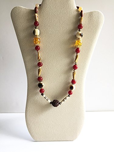 Boho Wine, Beige, Cream, Yellow Necklace with Brown Rudraksha Seed focal. One of a - Brown Dalia