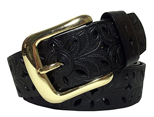 Louechy Women's Floral Perforated 38mm Wide Leather Belt Golden Buckle 7205-32 Black (Perforated Floral Belt)