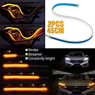 Daphot-Store - New 2Pcs 60CM/45CM/30CM 3 Lighting modes DRL strip for cars or headlights customizations Turn signal or Daytime running light