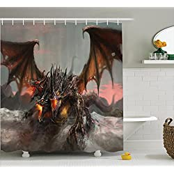 Ambesonne Fantasy World Decor Shower Curtain Set, Illustration of Three Headed Fire Breathing Dragon Large Monster Gothic Theme, Bathroom Accessories, 69W X 70L inches, Brown Grey
