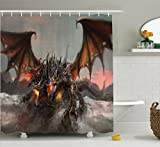 Fantasy World Decor Shower Curtain Set by Ambesonne, Illustration of Three Headed Fire Breathing Dragon Large Monster Gothic Theme, Bathroom Accessories, 84 Inches Extralong, Brown Grey