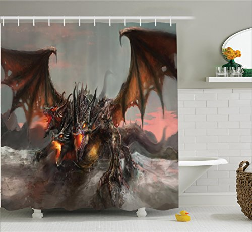 Ambesonne Fantasy World Decor Shower Curtain Set, Illustration of Three Headed Fire Breathing Dragon Large Monster Gothic Theme, Bathroom Accessories, 84 Inches Extralong, Brown Grey