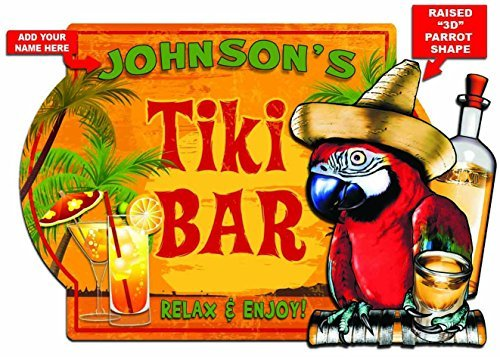 (Redeye Laserworks Tiki Bar Personalized Tequila Parrot - 3D Hardboard Sign from)