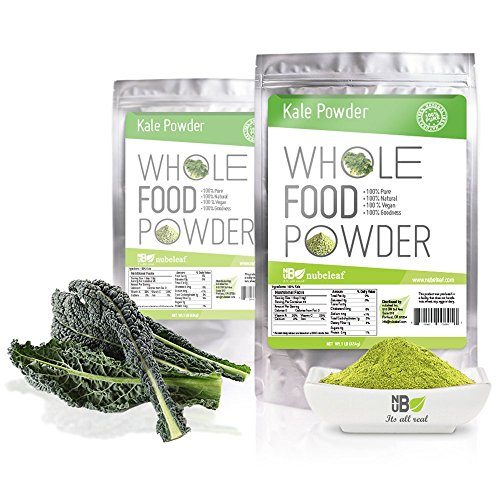 Nubeleaf Natural Pure Kale Powder – 1lb Bulk Re-sealable Pouches. Premium Quality Whole Food Vegetable. Vegan, 100% Kosher, Non GMO, Free From Soy & Gluten, No Additives, Fillers or Preservatives.