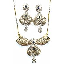 Shingar Jewelry Ksvk Jewels Cubic Zirconia (CZ) Tanmania Pendant Set For Women (9950-psad-blue)