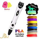 dikale 3D Pen with PLA Filament Refills 07A【Newest Version】 3D Drawing Printing Printer Pen Bonus 12 Colors 120 Feet PLA 250 Stencil eBook for Kids Adults Arts Crafts Model DIY, Non-Clogging