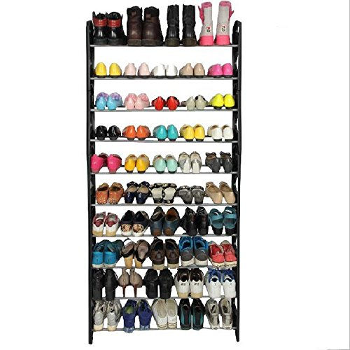 Marketworldcup - 50 Pair 10 Tier Shoe Tower Rack Organizer Space Saving Shoe Rack Stainless - Homes Jim Mobile Ray