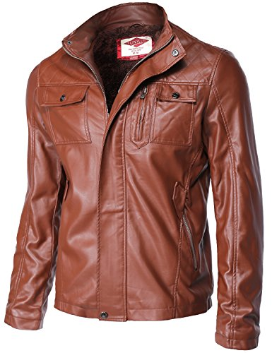 Fur Inside Waist Length Motorcycle Faux Leather Jackets