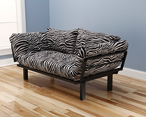 Best Futon Lounger - Versatile Positions - Sit Lounge Sleep - Smaller Size Piece of Furniture is Perfect for Bedroom Studio Apartment Guest Room Covered Patio Porch (ZEBRA)