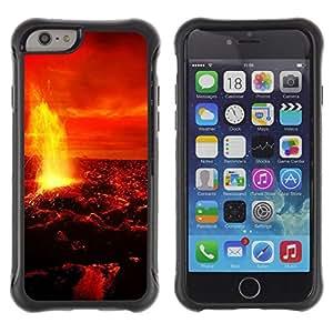 Suave TPU Caso Carcasa de Caucho Funda para Apple Iphone 6 / Magma Lava Fire Venus Planet Red Sky Universe / STRONG