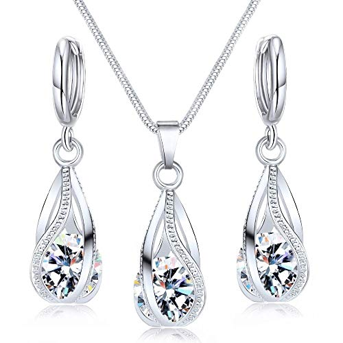 - Maylena Belle 18k White Gold-Plated Clear Crystal Water Drop Silver Cage Pendant Necklace and Earrings Set