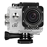 Sports Camera, SOOCOO 4K Action Camera 20MP 2.0 Inch Waterproof Diving Camera with 2 Batteries and 19 Accessories Kit Included - Silver + Wifi (32GB Micro SD Card Included)