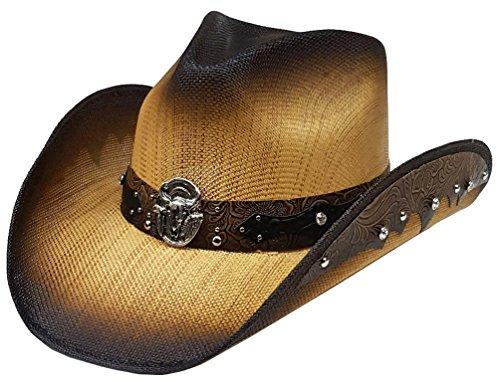 Skull With Cowboy Hat (Modestone Straw Cowboy Hat Longhorn Bull Rhinestones Appliques Brown)