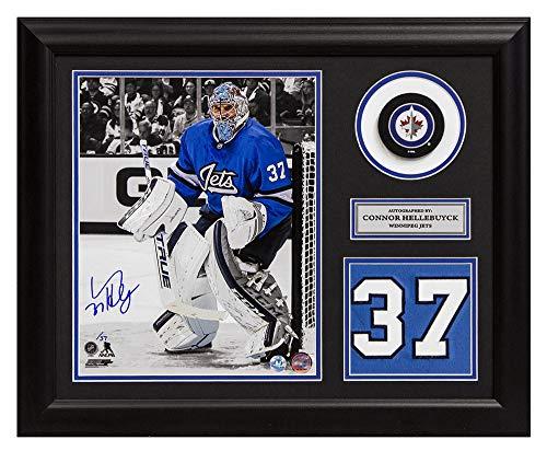 Connor Hellebuyck Winnipeg Jets Autographed Signed Aviator Spotlight Jersey Number 19x23 Frame LE/#37 - Certified Authentic - Signed Jets Winnipeg