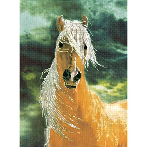 M C G Textiles 14 Count Golden Sunset Horse Embellished Cross Stitch Kit, 12 by 16-Inch