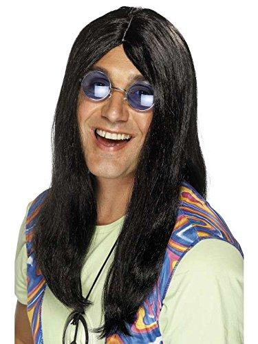 Peluca de hippie para hombre, color negro: Amazon.es ...