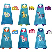 Dress Up Capes Horse Costumes Set with Masks for Kids Girls Boys Birthday Party Supplies 6pcs