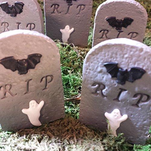 Miniature Halloween tombstones. Set of 2. Fairy garden accessories. (Mini Tombstones)