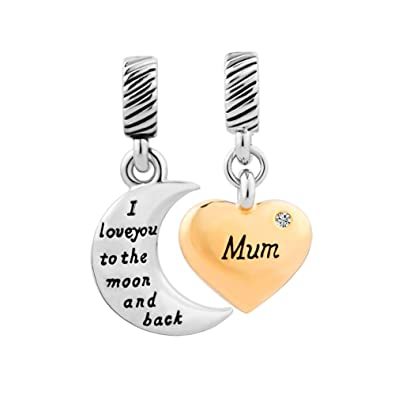 f2390b1b26f2b OutCharmed Mum I Love You To The Moon And Back Heart Charm Beads Fit ...