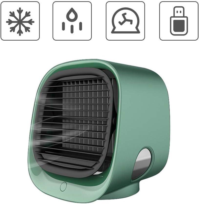 enfriador de aire silencioso personal con 3 velocidades de viento y luz LED de 7 colores adecuado para la mesita de noche del dormitorio de la oficina verde) 4YANG Enfriador de aire port/átil