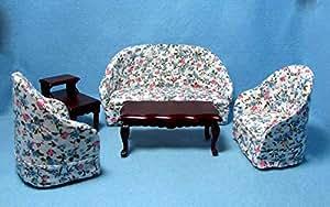 Dollhouse & Miniature Blue & Pink Floral Living Room Set ~ 5 Pieces T0105