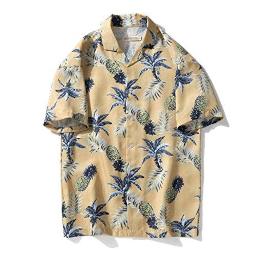 インスタンス内向き株式会社夏服 メンズ ハワイ風 アロハシャツ 開襟 ラペル 5分袖 UV対策 通気速乾 軽量 カジュアル 薄手 ゆったり 旅行 リゾート ビーチ 海 シャツ プリントシャツ 花柄 全4色 M L XL 2XL