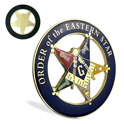 Order of The Eastern Star Masonic Car Emblem Round Blue & Gold Freemason Car Auto Decal