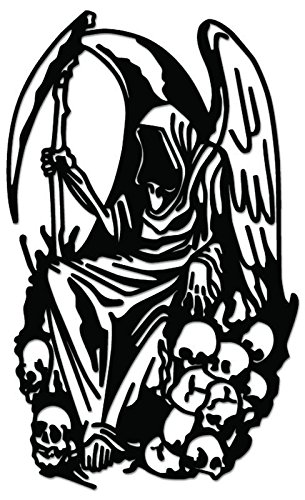 Grim Reaper Death Angel Vinyl Decal Sticker For Vehicle Car Truck Window Bumper Wall Decor - [6 inch/15 cm Tall] - Matte WHITE Color