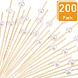Blulu 200 Pack Cocktail Picks 4.7 Inch Fruit Sticks Pearl Bamboo Toothpicks for Wedding Birthday Party Supplies (White)