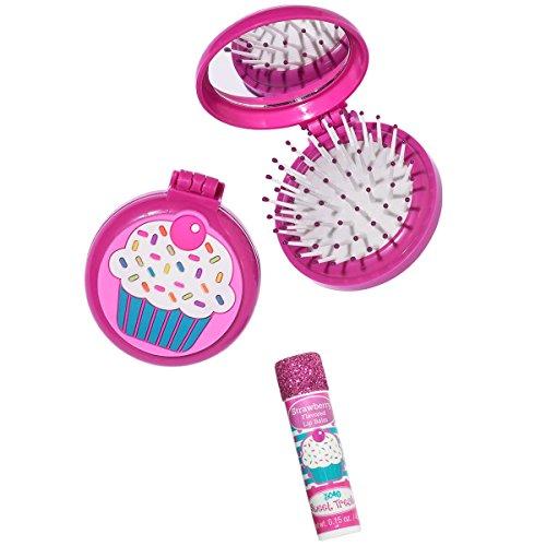 3C4G Cupcake Folding Brush & Mirror Set with Bonus Lip Balm