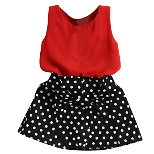 FEITONG 2018 Kids Girls Vest Pleated Dress Two Pieces Set Clothes Children Chiffon Top + Short Skirt Suit (Red, 2-3Y)
