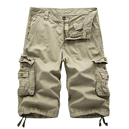 Osmyzcp Men's Casual Loose Fit Cargo Shorts, Straight Multi-Pocket Cotton Outdoor Short-Khaki-32 ()