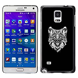 Dibujo Lobo Negro Familia del perro negro- Metal de aluminio y de plástico duro Caja del teléfono - Negro - Samsung Galaxy Note 4