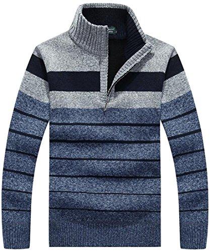 ouxiuli Men Thick Warm Autumn Basic Striped Knit Sweater Half Zip 2 (Half Zip Striped Sweater)
