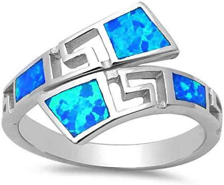 Lab Created Blue Opal Fashion .925 Sterling Silver Ring Sizes 4-12