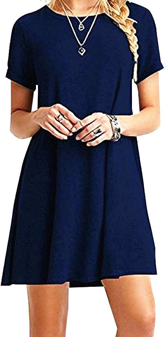 TALLA XL. ZHANGNA Mujer Suelto Casual Vestido de la Camiseta Azul Oscuro XL