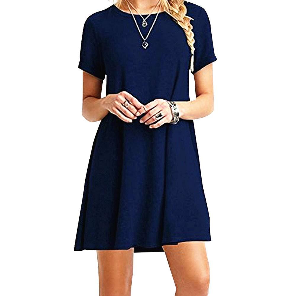 TALLA M. ZHANGNA Mujer Suelto Casual Vestido de la Camiseta Azul Oscuro