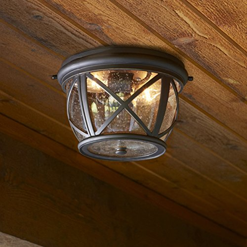 Allen Roth Castine 10.9-in W Rubbed Bronze Outdoor Flush-Mount Light by Castine Collection