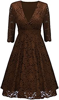 Arolina Women&#39s Surplice V-Neck Retro Floral Lace Dress