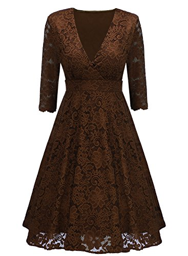 Arolina Women's Surplice V-Neck Retro Floral Lace Evening Dresses (XX-Large, - Brown And Pink