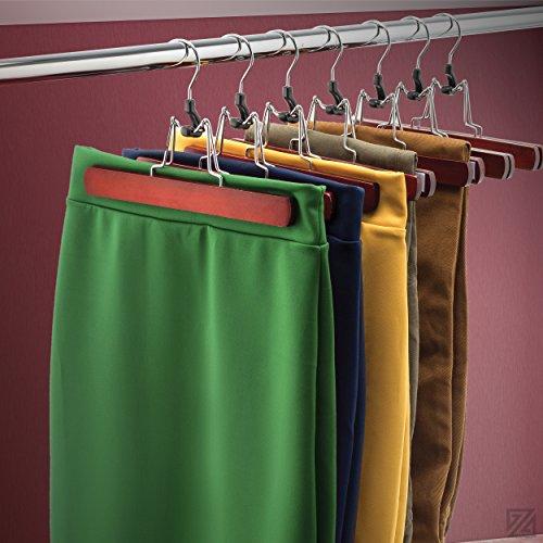 ZOBER Premium Wooden Pants Hangers (Set of 10) Solid Lacquered Non Slip Trouser Hanger, Cloth Safe Lock Skirt Hangers, 360 Degree Swivel Hook, for Skirts, Pants, Jeans, Slacks, Shorts, (Cherry Wood) by ZOBER (Image #1)