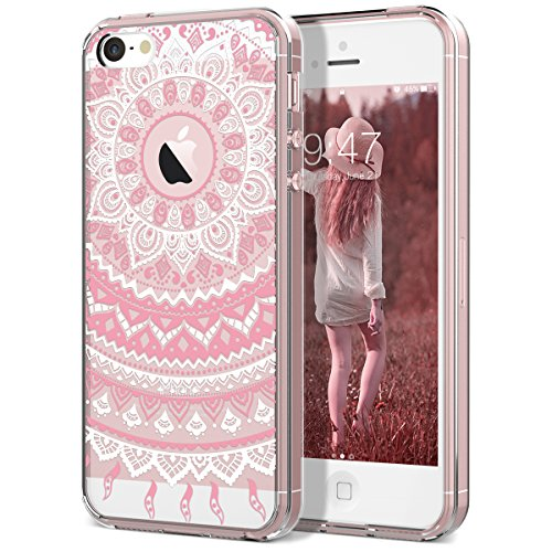 iPhone 5 5S Case, iPhone SE Case, SmartLegend Retro Totem Mandala Floral Pattern Clear Acrylic PC Hard Back Cover with TPU Bumper Frame Hybrid Transparent Protective Case for iPhone 5 5S SE (Pink)