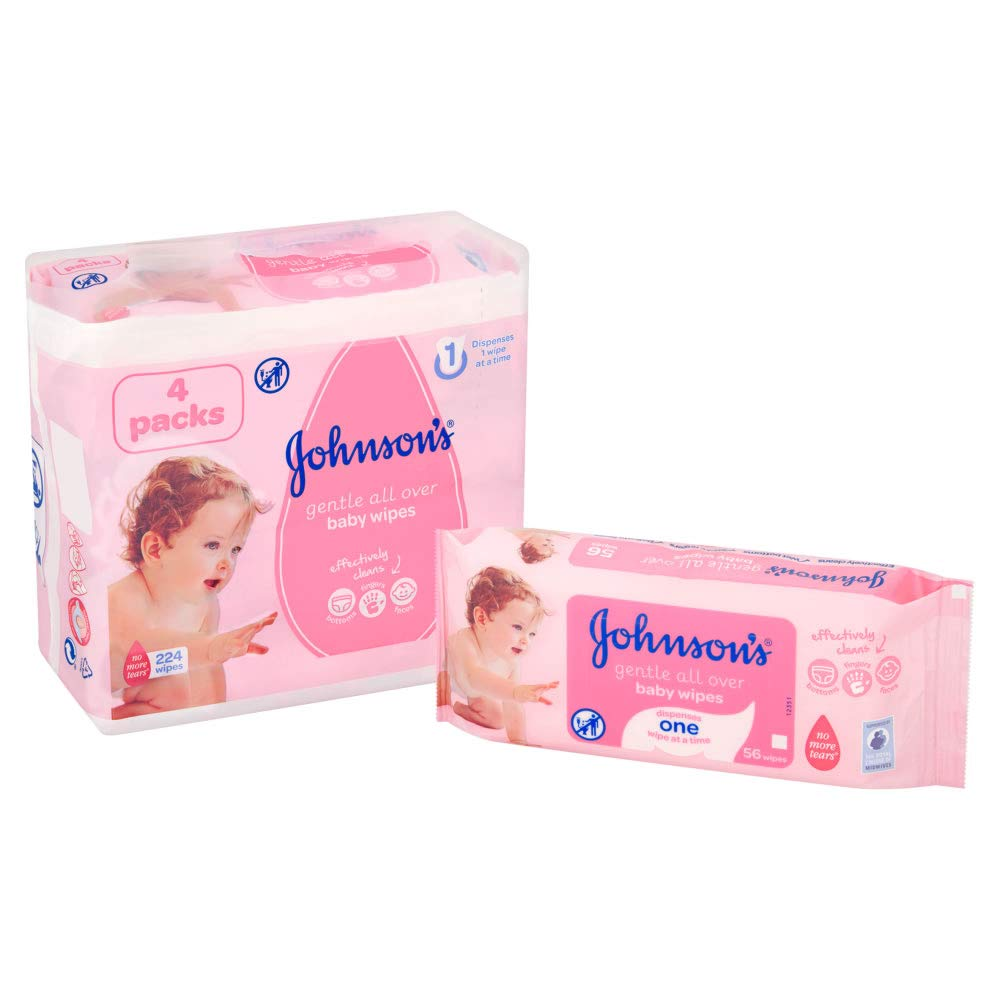 Johnsons Baby Gentle All Over Wipes 56 per pack Pack of 4