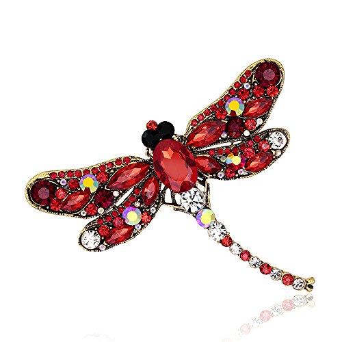 MUZHE Dragonfly Brooches for Women Fashion Crystal Brooch Scarf Lapel Rhinestone Brooch Pins Animal Jewelry (Red) ()