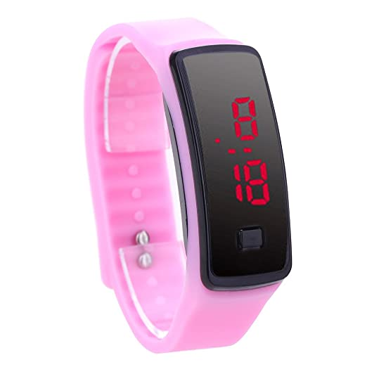 Reloj De Pulsera Demiawaking Moda LED pulsera Relojes digitales Unisex Sports Wristwatch (Rosa)